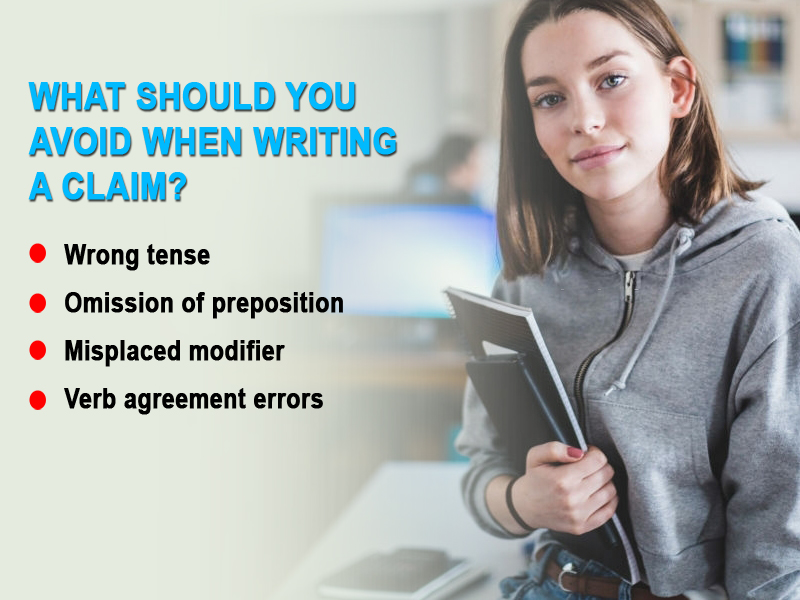 What should you avoid when writing a claim?
