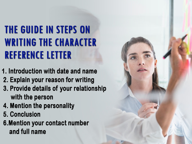 The guide in steps on writing the character reference letter